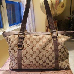 Gucci Monogram Shoulder Bag GG Tan Brown